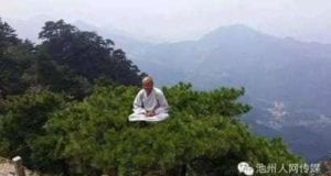 人体修炼 九华山僧人松树顶上凌空打坐