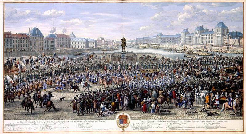 《太阳王在侍卫随护下从新桥向巴黎前进》,版画,before 1690。(公共领域)