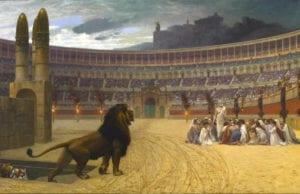 [法]让—莱昂‧杰罗姆(Jean-Léon Gérôme),《基督教殉道者最后的祈祷》(The Christian Martyrs'Last Prayer),美国巴尔的摩市沃尔特斯美术馆藏。