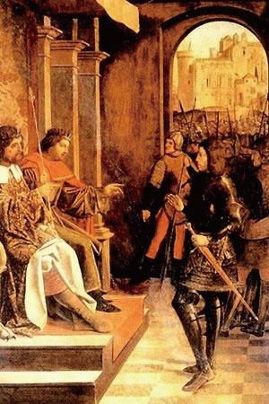 若斯.列菲林西(Josse Lieferinxe),〈圣塞巴斯蒂安面见马克西米安和戴克里先皇帝〉(Saint Sebastian Before Emperors Maximian and Diocletian),1497年作,圣彼得堡艾尔米塔什博物馆藏。画中圣塞巴斯蒂安身穿罗马禁卫军的制服。
