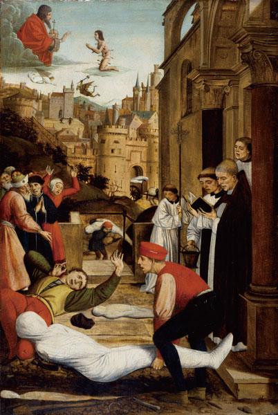 若斯.列菲林西(Josse Lieferinxe),〈圣塞巴斯蒂安代瘟疫灾区向神祈祷〉(Saint Sebastian Interceding for the Plague Stricken),1497年作,美国巴尔的摩市沃尔特斯艺术博物馆藏。(维基百科公共领域)
