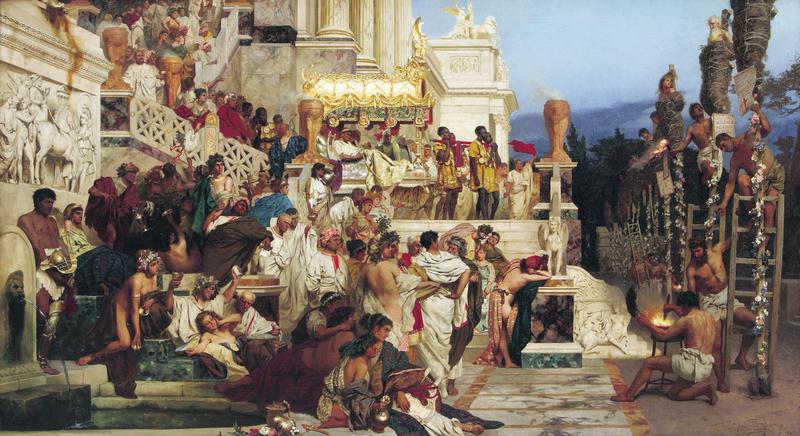 [波]西米尔拉德斯基(Henryk Siemiradzki),《尼禄的火炬》(The Torches of Nero),1882年作,私人收藏。(维基百科公共领域)