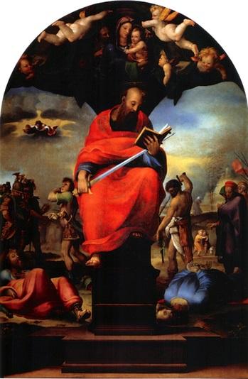[意]贝卡弗米(Domenico Beccafumi),《圣座上的圣保罗》(Saint Paul Enthroned), 1516—1517年作,锡耶纳主教座堂歌剧博物馆藏。(tumblr.com)