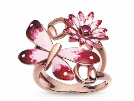 镶嵌钻石蝴蝶和红宝石花朵做点缀,独具雍容华贵风情。(GUCCI)