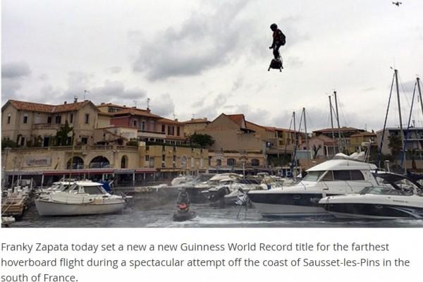 法国人用悬浮滑板飞行2公里