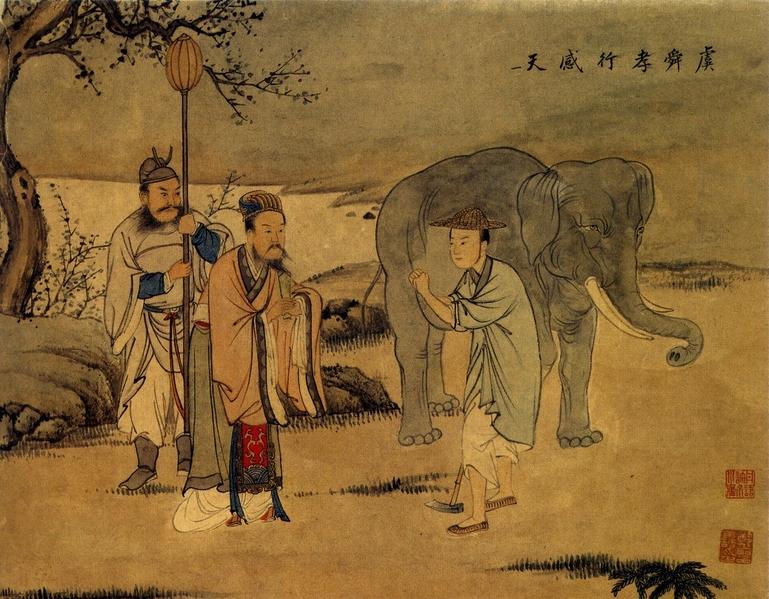 清代王素绘画《二十四孝图》之虞舜孝行感天。(公有领域)