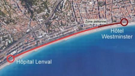 """如图红色线条所示,恐怖分子从Hôpital Lenval 到Hôtel Westminster全程行驶了2公里进行恐怖袭击,深红色线处为预留给民众观赏国庆烟花的步行道""""Zone Piétonne""""。(FRANCETV INFO)"""