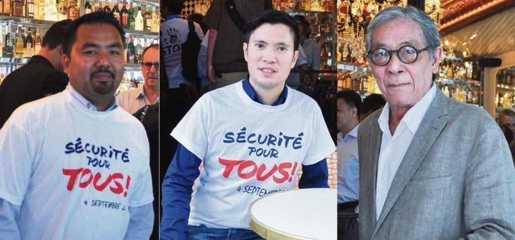 从左到右,法国亚裔社团联盟副主席VALERY VUONG、华裔议员林春来、法国亚洲联盟主席HUYEN PHAM VIA。(金湖/希望之声巴黎生活频道)