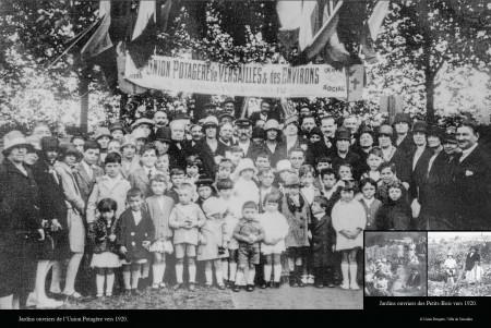 图为1920年,凡尔赛市的Maison de quartier Prés-aux-Bois 街区居民庆祝集体菜园的开幕。(Ville de Versailles)