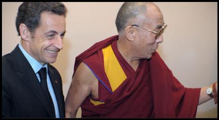 法国总统萨科齐曾在波澜与达赖喇嘛见面。(视频截图)