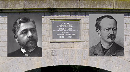 铁桥上工程师莱昂.博耶(右)和居斯塔夫.埃菲尔(左)的遗照。(视频截图)