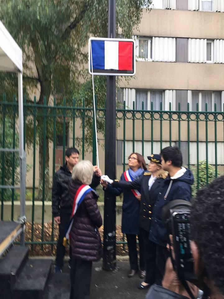 10月26日,奥贝维埃市政府正式为华人张朝林的纪念牌举行揭幕仪式。(Ling Lenzi脸书)