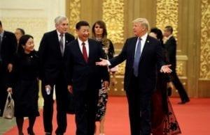川普2017年访华与习近平会晤(资料图片 AP)