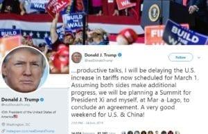 川普推特称延后对中国商品增加关税(推特截图)