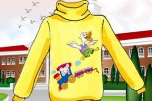 他请自己学画画的表哥在衣服上画了一只可爱的唐老鸭与一只顽皮的米老鼠。他选择在一个贵族子弟学校的门口叫卖(圖片:歐洲希望之聲合成)