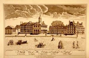 1767年保罗·列维尔笔下的哈佛学院(圖片:維基百科)