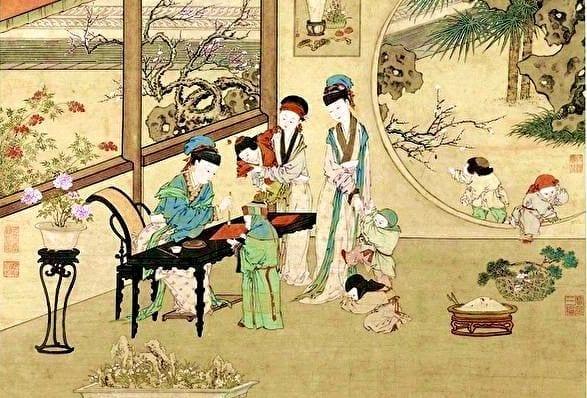 清 金廷标《曹大家授书图》描绘班昭在宫苑小阁里教学的情景,台北故宫博物院藏。(公有领域)