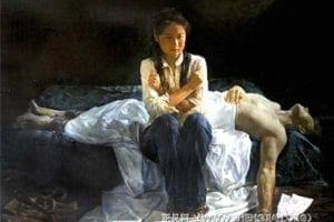 [《蒙难在中原》:李圆油彩.画布(2004年)版權歸屬原作者]
