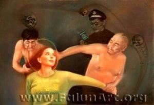 [《扭打外国女》:王志平粉蜡.纸37 in x 25.5 in(2004年)版權歸屬原作者]