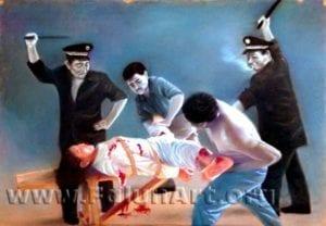 [《对妇女的迫害》:王志平粉蜡.纸39 in x 27.5 in(2004年)版權歸屬原作者]