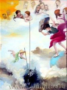 [《天使的审判》:汪卫星油彩.画布52 in x 68.5 in(2003年)版權歸屬原作者]