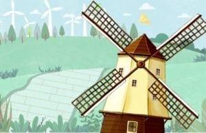 对面是一座用风车作动力的磨坊,在风力的作用下,磨坊外的风车嘎嘎吱吱地旋转(圖片:歐洲希望之聲合成)