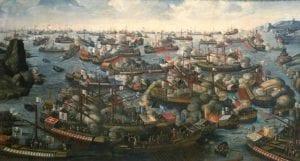 国家海事博物馆伦敦格林威治布面油画:1571年Lepanto战役的绘画1270毫米x 2324毫米;框架:1565 mm x 2620 mm x 90 mm;重量:85公斤