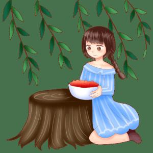吃野果的女孩(授权图片)
