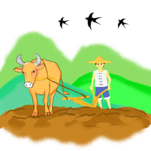 帮你母亲做很多很多农活,上山、放牛、耕地、插秧……