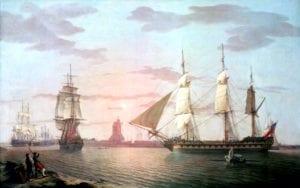 """""""这幅画可能是由亨利·威尔逊上尉绘制或者获得的,他指挥'威利'直到1806年,這是在他的家庭中传下来(圖片:維基百科)"""