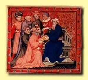《马可·波罗游记》插图:马可·波罗和忽必烈汗在大都的王廷(图片:维基百科)