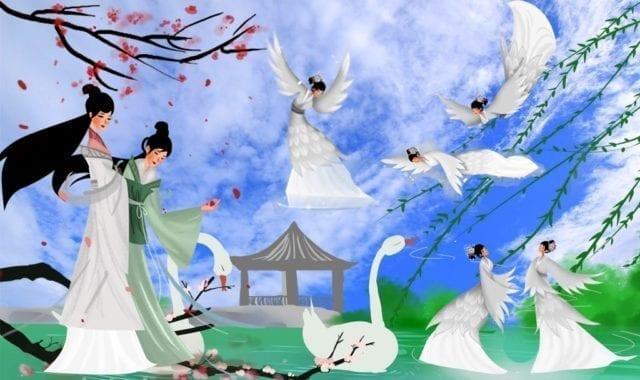 七个仙女下到这个湖里洗澡(图片来源:欧洲希望之声合成)