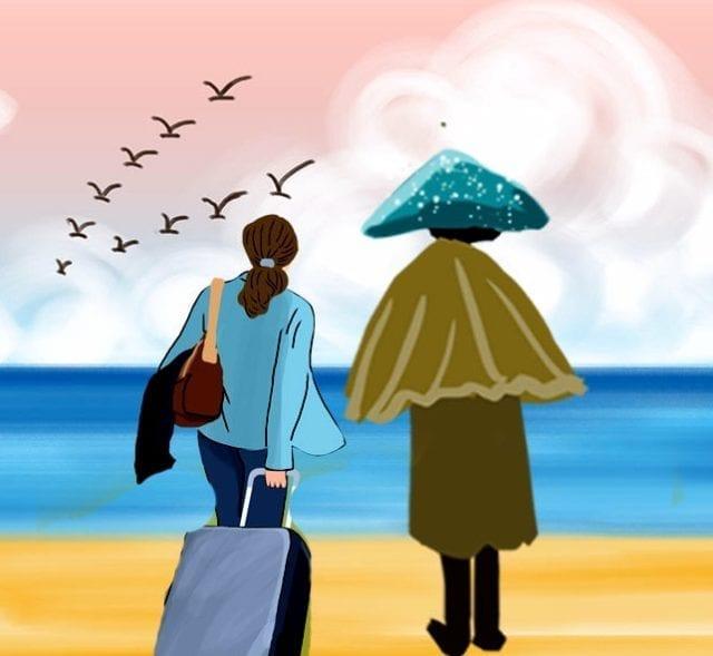 我看到真的大海了,回去我要告诉你张婶、李大妈,大海是什么样儿的(图片来源:欧洲希望之声合成)