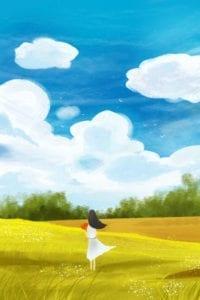 喜欢蓝天白云下的花草(授权图片)