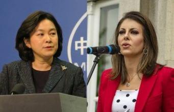 中共外交部發言人華春瑩和美國國務院發言人摩根·奧塔格斯(Morgan Ortagus)(中央社)