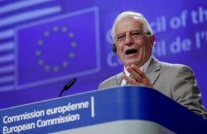 欧盟外交政策负责人博雷利于8月14日对于以色列与阿联酋关系正常化表示欢迎。 (美联社图片)。