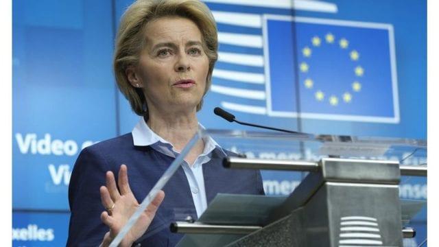 5月27日,欧洲联盟(EU)执行委员会主席乌尔苏拉•冯•德赖恩(Ursula von der Leyen)公布,准备拿出7500亿欧元,用于协助新冠疫情危机受创最严重的国家与产业进行纾困。这项经济复兴计划一旦实施,将是欧盟历史上最大规模的振兴方案。(达志影像/美联社资料照片)