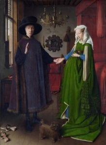 《阿尔诺非尼夫妇》(Portrait of Arnolfini and his Wife),1434年,收藏于英国国家美术馆。中世纪晚期服饰。