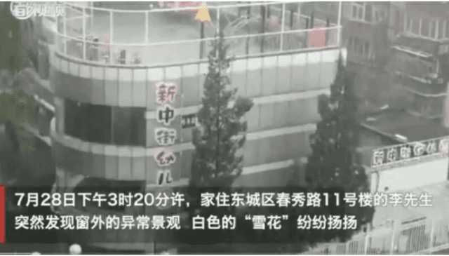 7月28日北京东城区飘雪。