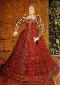 女士服饰则呈现方形低胸、领子硬挺高耸立、上紧下宽、腰部纤细的样式