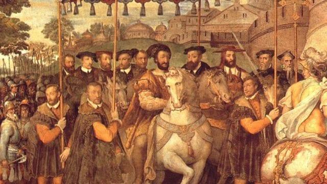 1540年1月1日,神圣罗马帝国皇帝查理五世(中间穿黑色衣服的骑马者)和弗朗索瓦一世(中间穿土黄色披风的骑马者)共同进入巴黎。两人是小舅子和姐夫的亲戚关系,两人从年轻到老,也是宿敌。(图片来源:维基百科)