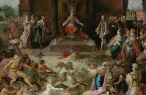 1555年10月25日,在布鲁塞尔,神圣罗马帝国皇帝查理五世退位。在最高的中心处,查理五世坐在他的宝座上,左边是他的弟弟斐迪南一世,右边是他的儿子西班牙国王腓力二世。(图片来源:维基百科)