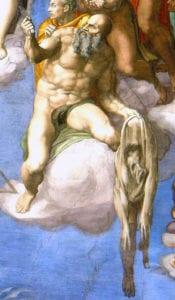 米开朗基罗在1536年至1541年间所绘壁画最后的审判。图示部分为巴尔多禄茂手提人皮,人皮的面部是米开朗基罗的自画像。