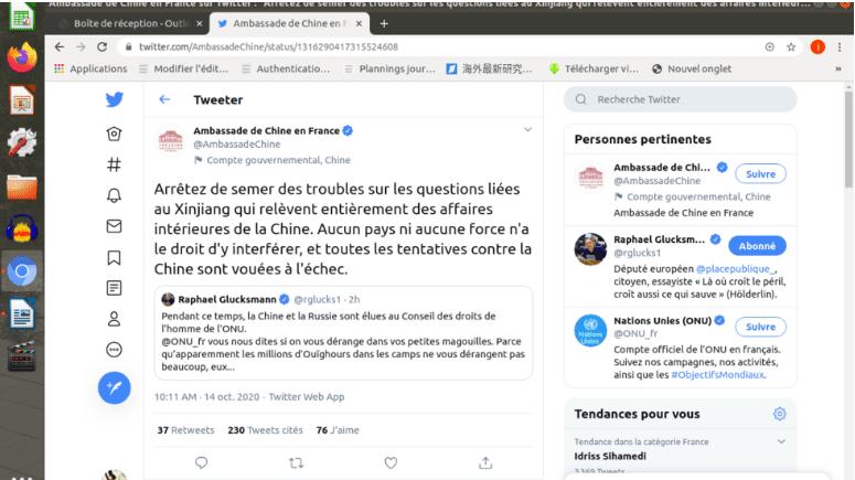 中共驻法使馆批评法国议员遭法国网民围攻(网络截图)