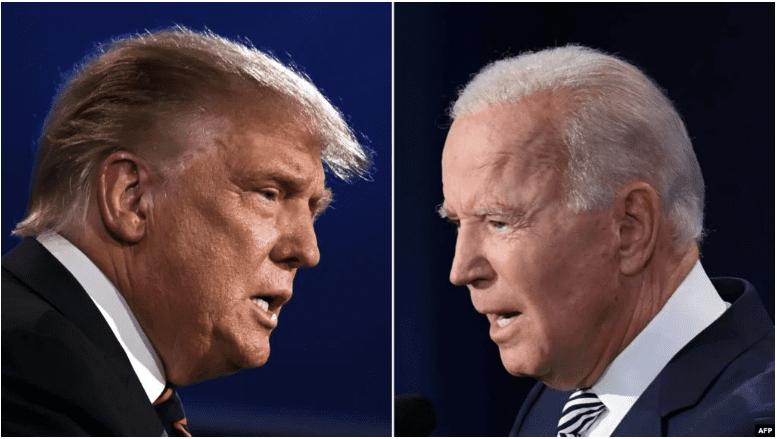 图为美国总统川普和民主党总统候选人拜登在第一场辩论中唇枪舌剑。