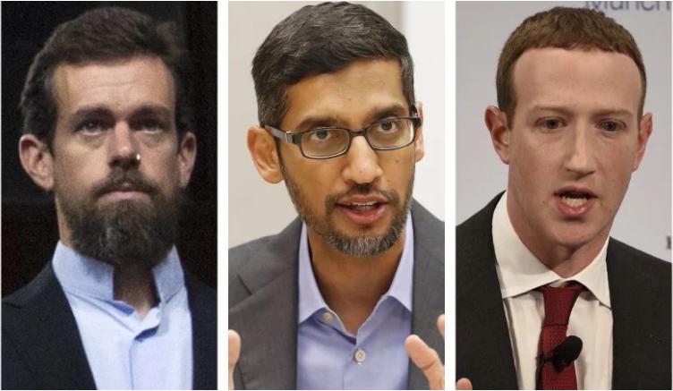 推特的多塞(左)谷歌的皮查伊(中)和脸书的扎克伯格(右)将到联邦参议院商务委员会出席听证。(AP)